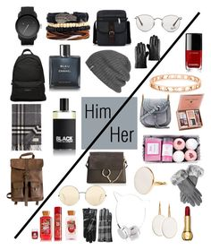 """""""Holiday gift guide: For him & her"""" by jyoti1201 on Polyvore featuring Diesel, Balenciaga, Kjøre Project, Chanel, Comme des Garçons, Ray-Ban, Outdoor Research, Burberry, Chloé and Victoria Beckham"""
