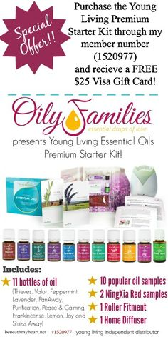 Purchase the Young Living Premium Starter kit through my member number (1520977) and receive a FREE $25 Visa Gift Card!