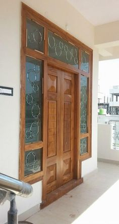 New wooden glass door design woods Ideas Front Door Design Wood, Home Door Design, Double Door Design, Door Gate Design, Door Design Interior, Wooden Door Design, Interior Exterior, Exterior Doors, Entrance Design