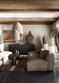 The Spirit Of Wabi-Sabi Interiors Wabi Sabi, Home Design, Home Interior Design, Interior Decorating, Interior Livingroom, Interior Plants, Interior Ideas, Black Bathroom Furniture, Casa Loft