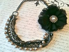 black silver fabric flowers | Fabric Flower Necklace Romantic Jewelry by HASJewelsbyShannon