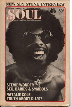 Sly Stone on the cover of Soul, February 2, 1976.