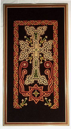 It is a picture of the Armenian Cross made on velvet, a masterpiece of Marash embroidery
