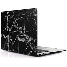 iDOO Matte Rubber Coated Soft Touch Plastic Hard Case for MacBook Air 13 inch Model A1369 and A1466 Black Marble