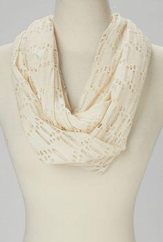 Light Beige Crocheted Infinity Scarf