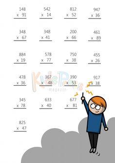 3 Digit by 2 Digit Multiplication Worksheet - Math Multiplication Worksheets, 3rd Grade Math Worksheets, Math Workbook, School Worksheets, 2nd Grade Math, Abacus Math, Math Drills, Math Board Games, Math Sheets