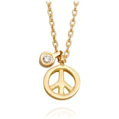 Marian Maurer Peace Necklace ($545) ❤ liked on Polyvore featuring jewelry, necklaces, accessories, collares, joias, peace symbol necklace, peace sign necklace, peace necklace, chain pendants and chain necklaces