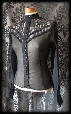 Gothic Black High Neck Lace Bib GOVERNESS Sheer Blouse 8 10 Victorian Vintage - £29.00