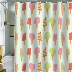 Ice Cream Shower Curtain, $89   30 Weird And Wonderful Shower Curtains