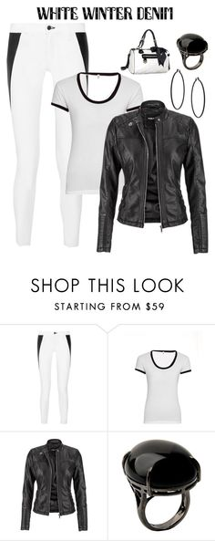 """""""You cant go wrong adding some leather!  On Trend: Winter White Denim"""" by im-karla-with-a-k ❤ liked on Polyvore featuring rag & bone, R13, maurices, Sharra Pagano and Topshop"""
