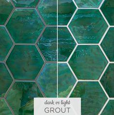 Dark Versus Light Grout with Ceramic Tile Copper Kitchen Decor, Kitchen Tiles, Kitchen Flooring, Green Bathroom Tiles, Small Bathroom, Bathroom Ideas, Bathroom Tiling, Green Tiles, Plywood Kitchen