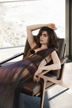 Actress Lily Collins poses in sheer dress from Vera Wang  for Malibu Magazine November 2016 Issue
