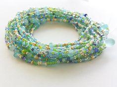 Aquamarine Sea Glass Beaded Wrap Bracelet  87 Long Seed