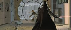TESB: Young Jedi warrior Luke Skywalker tries to reach his lightsaber when he finds himself pressed to an observation room window overlooking the great loading ports of Cloud City. Darth Vader has decided that it is time to give the novice a demonstration of the powers he possesses with the dark side of the Force.