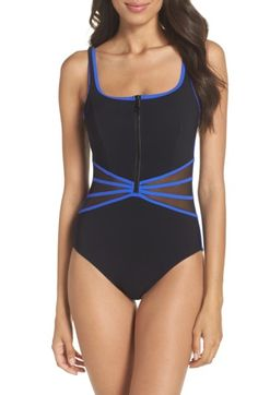 974a7a4d17 Free shipping and returns on Profile by Gottex Grand Prix One-Piece Swimsuit  at Nordstrom.com. Comfortable and flattering with a front zipper