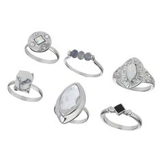 Miss Selfridge Semi Precious Ring Multi Pack (€3,35) ❤ liked on Polyvore featuring jewelry, rings, accessories, beads jewellery, beaded rings, semi precious rings, miss selfridge and beaded jewelry