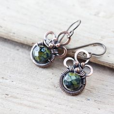 Small Earthy Green Dangle Earrings, marbled Picasso glass beads, wire wrapped oxidized copper