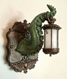 Tentacle Lantern Wall Plaque with LED Light Feature - master bath wall sconces Casa Disney, Led Licht, Gothic House, Kraken, Cthulhu, Wall Plaques, Game Room, Sculptures, Room Decor