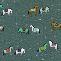 Horseback on Green by Sarah Watts for Cotton & Steel