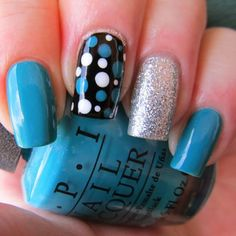 Blue, silver and black skittlette nails