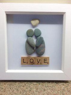 "Scrabble ""Love"" and pebble art Stone Crafts, Rock Crafts, Arts And Crafts, Stone Pictures Pebble Art, Stone Art, Caillou Roche, Beach Rock Art, Art Amour, Art Rupestre"