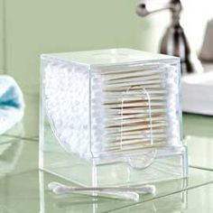 Q-Tips Organizer | Solutions-- Use a toothpick dispenser ♥ brilliant!