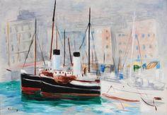 Moïse KISLING (1891-1953) Le port de Marseille Huile sur toile Signé en bas