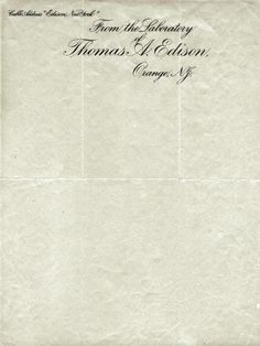thomas edison's letterhead. love... from the laboratory.