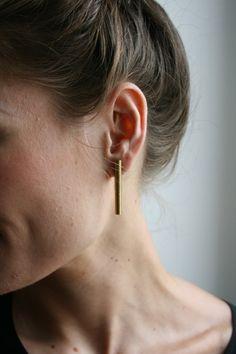 Add an elegant touch with these simple brass earrings. #etsy accessori, jewelry bracelets, brass jewelry, brass earring, jewelri bracelet, bar earring, brass bar, necklac jewelri, earrings