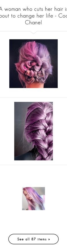 """""""A woman who cuts her hair is about to change her life - Coco Chanel"""" by hallaveryh ❤ liked on Polyvore featuring accessories, hair accessories, hair, pink hair accessories, purple hair accessories, long hair accessories, hairstyles, braided hairband, low crown and barrette hair clips"""