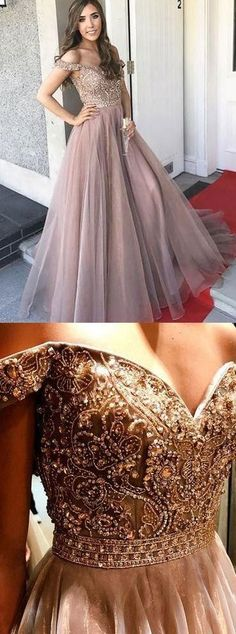 Off Shoulder Sweetheart Neck A line Beaded Long Custom Evening Prom Dresses