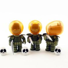 """Set of All 3 ORANGE IWG Astro Krieg Mini Figures: Titus the Grizzly, Hannibal the Gorilla and Affonso the Rhino by Rocket World. $29.95. Edition: Limited. Height: 3.5"""". Medium: Vinyl. Designer: Rocket World. This is a Set of All 3 Orange IWG Astro Krieg Mini Figures: Titus the Grizzly, Hannibal the Gorilla and Affonso the Rhino. The 3 have formed a dreaded new unit of the Gruppo, patrolling the solar system and preventing bad humans from spreading to new worlds. Each ..."""