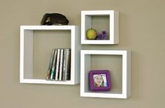 "AmazonSmile - nexxt Cubbi Set of 3 Contemporary Floating Wall Shelves 5x5"", 7x7"", 9x9""- White - Floating Shelves"