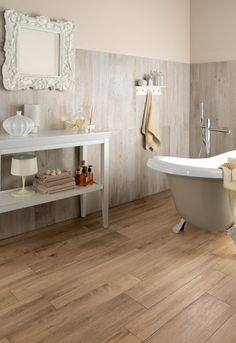 Wood look tile is much easier than hardwood floors to clean and keep looking nice