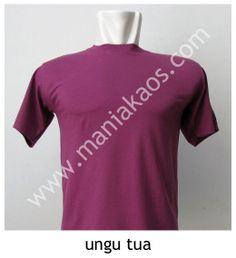 Kaos O-neck Lengan Pendek Ungu Tua, bahan 30s combed cotton.