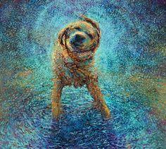Art, Dog, Paint, Pintando com os dedos! Obra de Iris Scott.