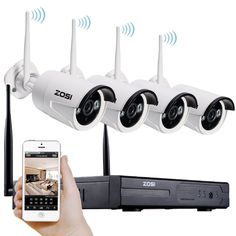 ZOSI 1280x720P HD Wireless 1MP Outdoor Security Network Camera with 4 Channel 960P Wifi NVR CCTV Surveillance Systems Support Smartphone Remote view NO Hard Disk, 100' Night Vision