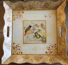 Painted Trays, Decoupage Box, Plates On Wall, Chalk Paint, Wood Art, Art Lessons, Lily, Scrapbook, Creative
