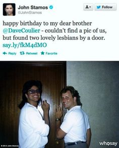 Two lovely lesbians. Oh, John Stamos...