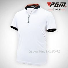 PGM Golf Clothing Men's Golf Polo shirts Breathable Elastic Golf Short Sleeved Uniforms White Orange Blue Plus Size
