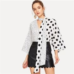 Black and White Two Tone Polka Dot Print Tie Neck Top Elegant Tiered Layer V Neck Blouse