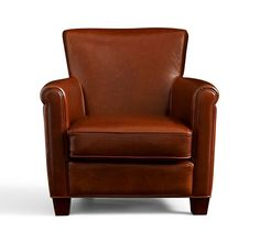 Irving Leather Armchair | Pottery Barn | I love this chair.  Comfortable, but not overstuffed and bulky.