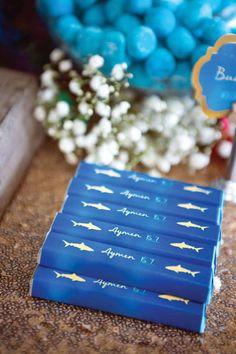 "Chocolate Bars from a Shark & Mermaid ""Under the Sea"" Joint Birthday Party via Kara's Party Ideas! KarasPartyIdeas.com (20)"