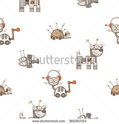 Vector seamless pattern with cartoon cats, dogs, hedgehogs and fishes robots on white background.