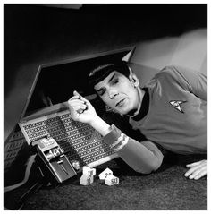 """classictrek:  Leonard Nimoy pauses for a photo while filming""""Balance of Terror.""""   How you doin ;)"""