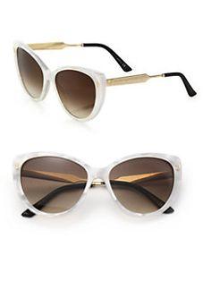 Gucci - 57MM Acetate & Metal Cat's-Eye Sunglasses