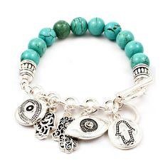 Silver Evil Eye & Hamsa Hand Charm Bracelet