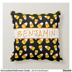Personalized Halloween Candy Corn Throw Pillow Halloween Pillows, Candy Corn, Spooky Halloween, Custom Pillows, Party Hats, Keep It Cleaner, Holiday Cards, Art Pieces, Throw Pillows