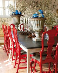 Traditional Dining Room With Red Furniture Red Dining Chairs, Painted Dining Chairs, Dining Table, Dining Rooms, White Chairs, Painted Tables, Zinc Table, Windsor Chairs, Blue Chairs