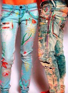 Trendy Diy Clothes Baby Old Jeans All Jeans, Love Jeans, Painted Jeans, Painted Clothes, Denim Fashion, Boho Fashion, Denim Ideas, Denim Crafts, Recycled Denim